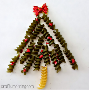 Noodle Christmas Tree Craft For Kids (Handmade Card Idea)