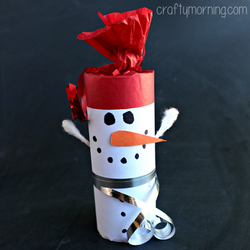 Diy snowman toilet paper roll craft for kids crafty morning for How to make snowman with paper