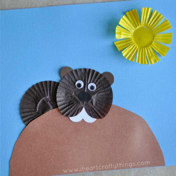 Cupcake Liner Groundhog Craft 2