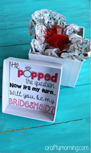 """""""He Popped The Question…"""" Bridesmaid Ring Pop Idea + Free Printable"""