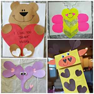 Valentine's Day Heart Shaped Animal Crafts For Kids