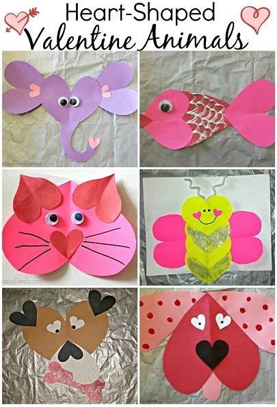 Valentine 39 s day heart shaped animal crafts for kids for Valentines day art and crafts for preschoolers