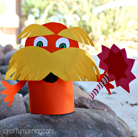 Lorax toilet paper roll craft for kids dr suess for Toilet roll art for kids
