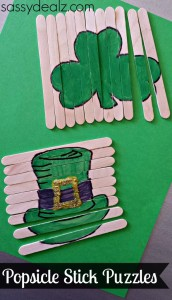 St. Patrick's Day Popsicle Stick Craft (DIY Puzzles)
