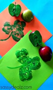 Apple Shamrock Stamp Craft for St. Patrick's Day