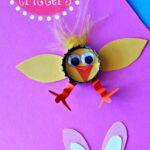 Bottle Cap Easter Crafts for Kids (Chick & Bunny)
