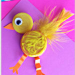 Plastic Bottle Cap Chick Craft for Kids