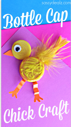 Plastic bottle cap chick craft for kids crafty morning for Bottle cap craft ideas for kids