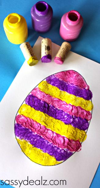 Wine cork easter egg stamping craft for kids crafty morning for Kids crafts with wine corks