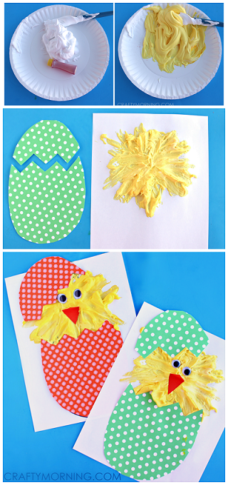 easter-hatching-puffy-paint-chicks-kids-craft