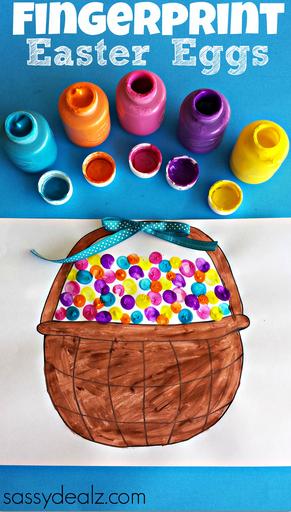 fingerprint easter egg craft  free basket printable