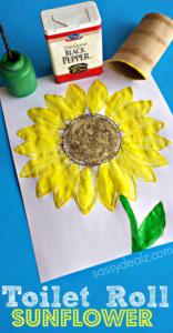 Toilet Paper Roll Sunflower Stamp Craft