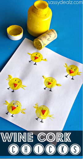 Wine cork chicks craft for kids crafty morning for Kids crafts with wine corks