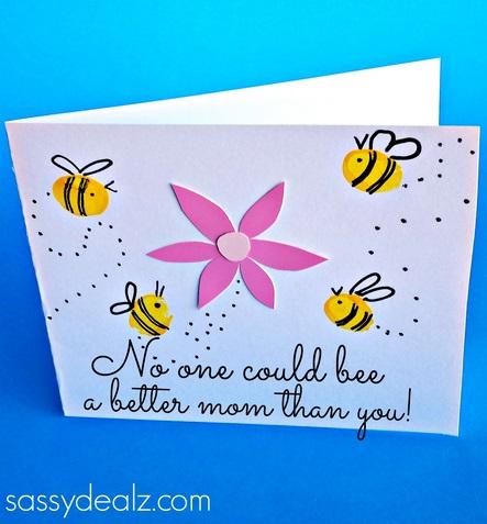 fingerprint bee mother 39 s day card for kids to make. Black Bedroom Furniture Sets. Home Design Ideas