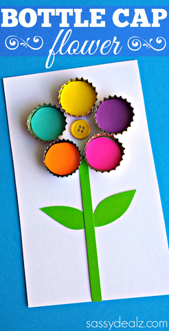 Bottle cap flower craft for kids crafty morning for How to make bottle cap flowers