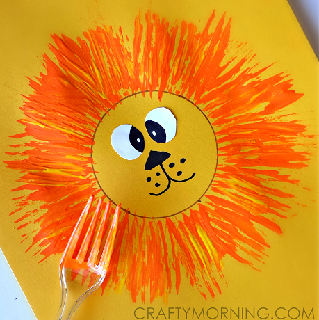 lion craft for kids using a fork crafty morning