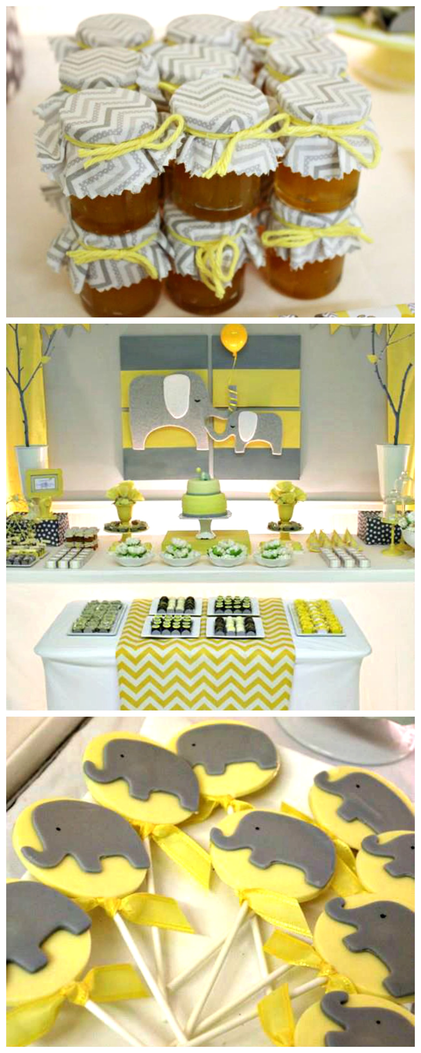 pics photos yellow gray baby shower themes decoration ideas