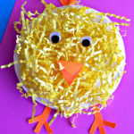 Paper Plate Chick Craft Using Easter Grass