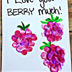"""I Love You Berry Much"" Fingerprint Raspberry Card Idea"
