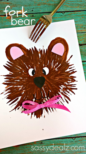 Kids Bear Craft Using a Fork