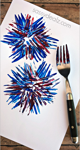 Kids Fireworks Craft Using a Fork