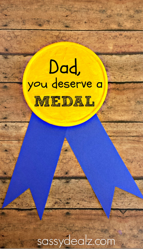 Gold Metal Father's Day Gift for Kids to Make - Crafty Morning