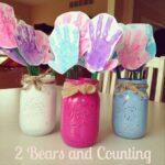 Handprint Flowers in Mason Jar Vases (Cute Gift Idea!)