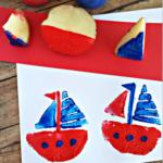 Sailboat Potato Stamping Craft for Kids