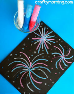Wet Chalk Fireworks Craft for Kids