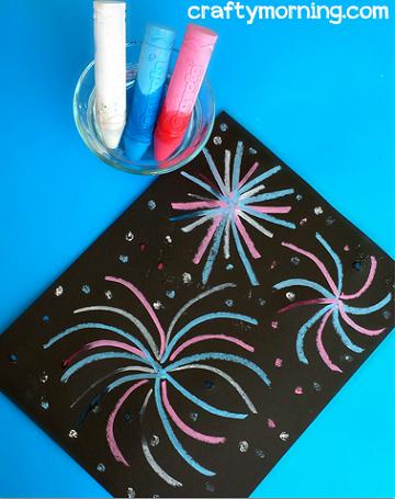 Wet Chalk Fireworks Craft For Kids Crafty Morning