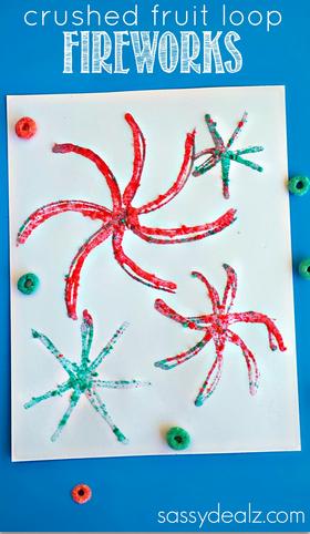 Crushed Fruit Loop Fireworks Craft For Kids Crafty Morning