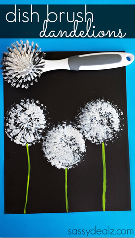 Dish brush dandelions craft for kids crafty morning - Pusteblume basteln ...