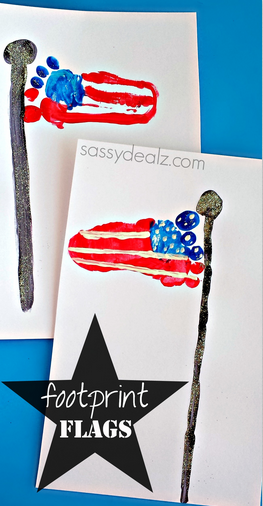 Footprint American Flag Craft for Kids