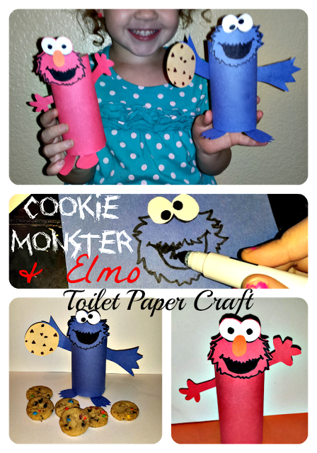 Cheap elmo cookie monster toilet paper roll crafts for for Inexpensive crafts for kids