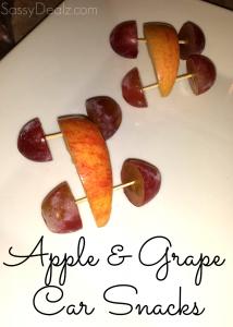 Cute Snack For Kids – Apple & Grape Cars