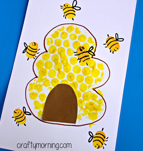 Bubble Wrap Beehive + Fingerprint Bee Craft
