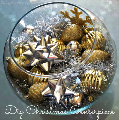 diy silver gold christmas fish bowl centerpiece on a budget crafty morning. Black Bedroom Furniture Sets. Home Design Ideas