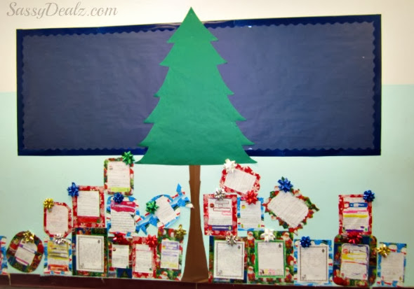 Classroom Christmas Tree Decoration ~ Diy christmas tree presents classroom bulletin board