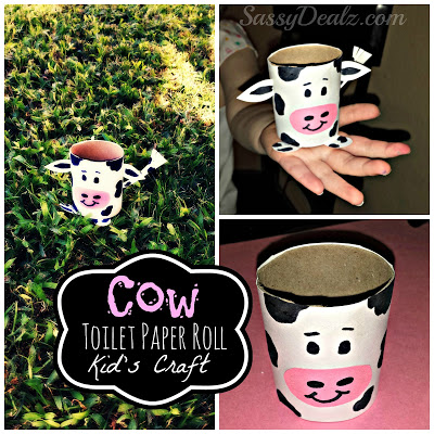 Cow toilet paper roll craft for kids farm activity - Sassydeals com ...