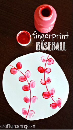 sports arts and crafts ideas fingerprint baseball craft for crafty morning 7174