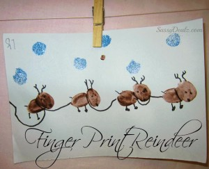 Adorable Fingerprint Reindeer Craft For Kids
