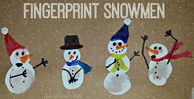 DIY Fingerprint Snowman Winter Craft For Kids