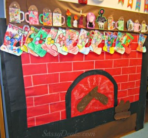 Fireplace Christmas Bulletin Board Idea For Your Classroom