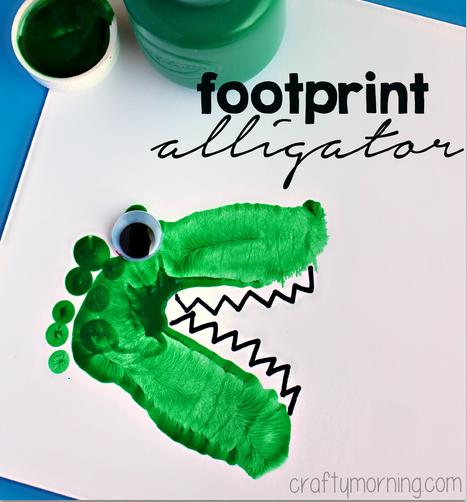 alligator amp dinosaur footprint crafts for kids   crafty morning