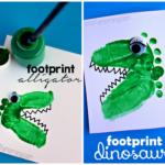 Alligator & Dinosaur Footprint Crafts for Kids