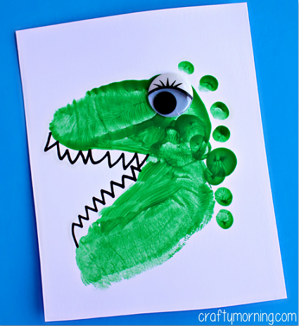 Alligator dinosaur footprint crafts for kids crafty for Dinosaur crafts for toddlers