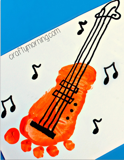 footprint-guitar-craft-for-kids-