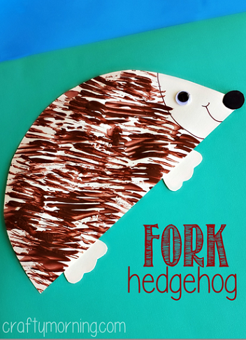 Hedgehog Craft Using a Fork