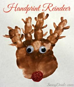 Handprint Reindeer Christmas Craft For Kids (Paint Project)
