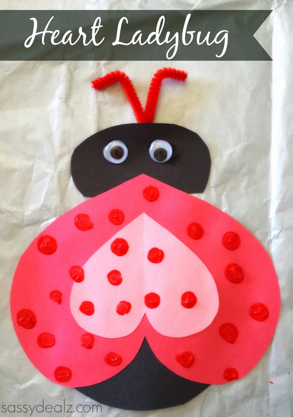 Valentine love bug craft - Heart Ladybug Craft For Valentines